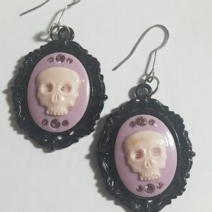 Vintage Skull Cameo Earrings from the 90's
